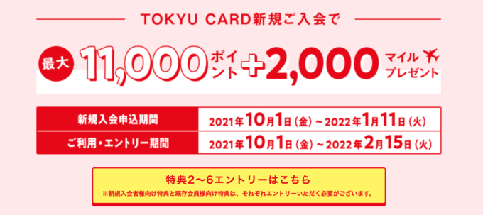新規入会キャンペーン!2022年1月11日(火)まで最大11,000ポイント+2,000マイル