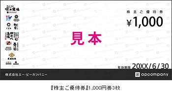 塚田農場の株主優待券