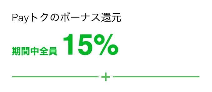 Payトクで全員15%還元