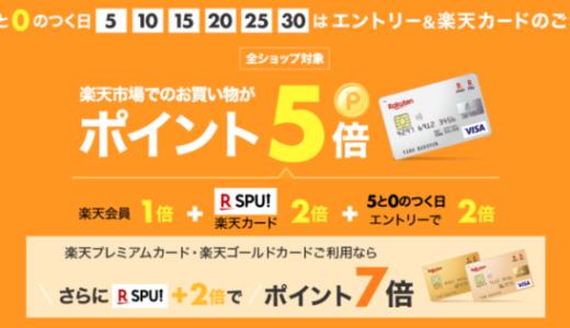 楽天市場で楽天カードがお得!2021年4月20日(火)はポイント5倍